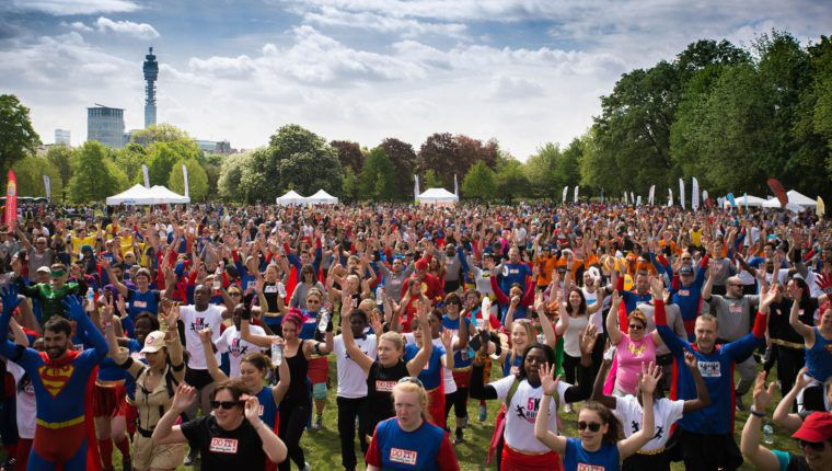 London Superhero Run crowd warm up