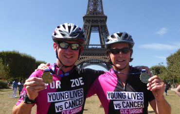2 Lomdon to Paris Clic Sargent Cyclists Under Eiffel Tower